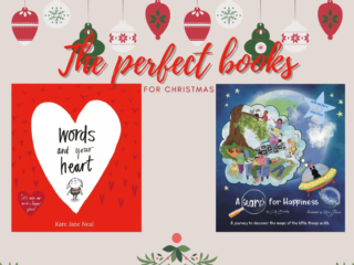 """Graphic entitled """"The perfect books for Christmas"""" with cover picture of Words and your Heart and A Search for Happiness"""